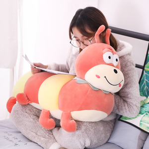 50/60/80 cm Large Soft Colorful Cartoon Carpenter Worm Plush Toy Climbing Mat Pillow Toys For Children