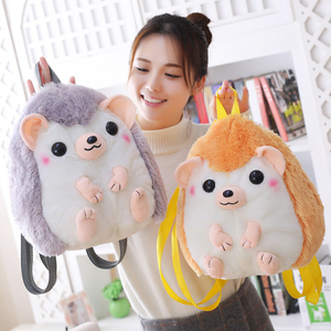 Cartoon Hedgehog Soft Backpack Plush Toy Stuffed Animal Hedgehog Schoolbag Cotton Toy Brand For Kids Gift Birthday