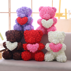 40 cm Rose Teddy Bear Toy Stuffed Animal Bear With Love Heart Placating Toy For Wedding Or Valentine's Day Gift