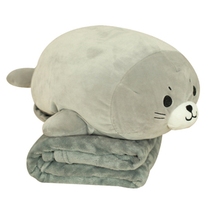 40 cm Stuffed Sea Lion Plush Toy Soft Pillow With Blanket Cute Animal Toy Cushion Doll for Kids Children's Bed