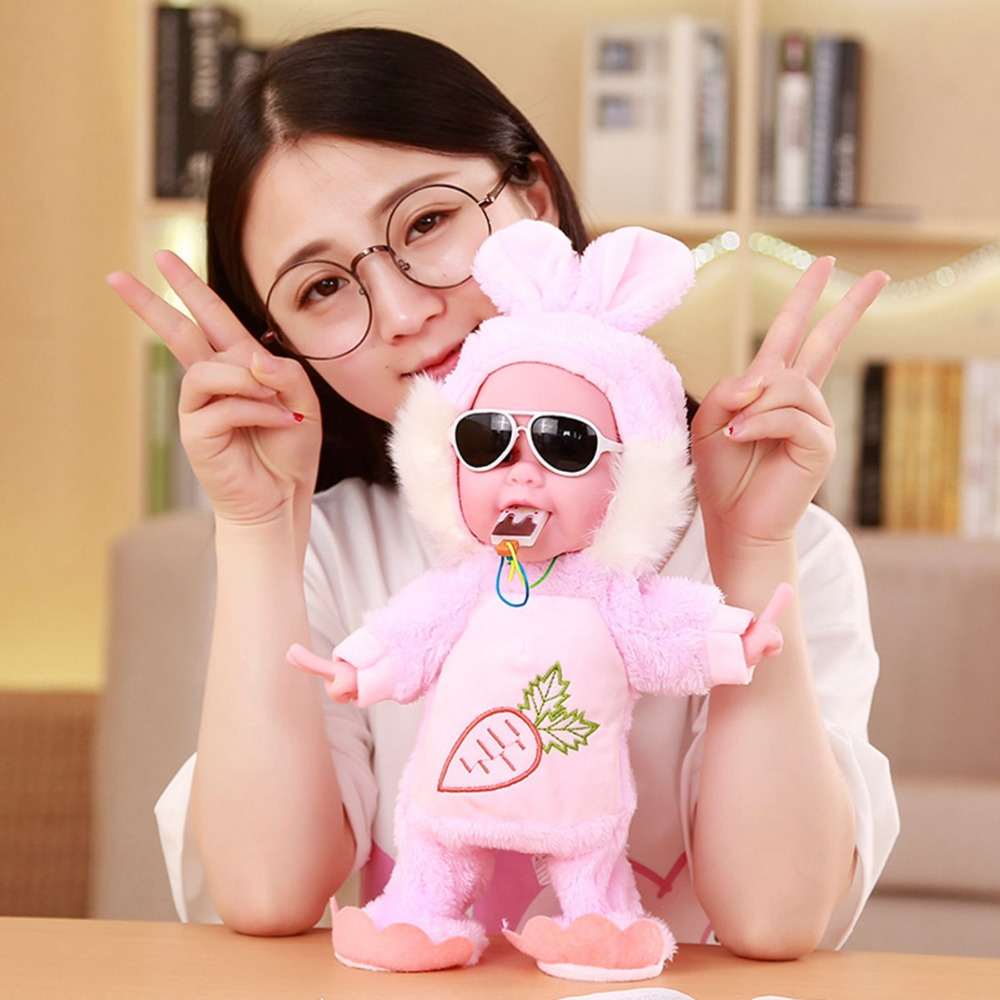30 cm Funny Electric Plush Toys Music Walking Dancing Doll with Monkey Dog Rabbit Dress Toy Interactive Electrical Toy For Baby